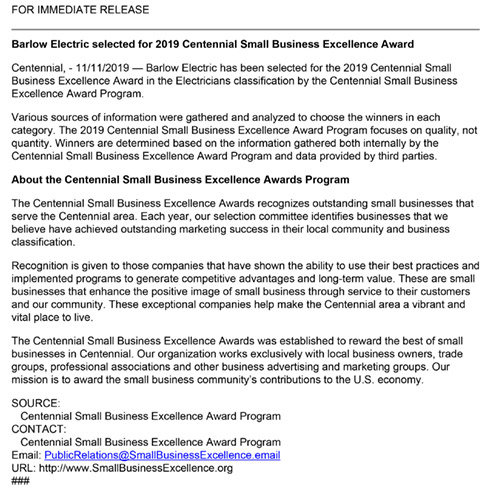 Barlow Electric press release